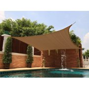 New Premium Clevr Sun Shade Canopy Sail 18'x18 Square UV Outdoor Top Patio Brown