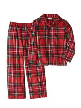 Komar Kids Boys' Red Plaid Button Up Front Pajama set