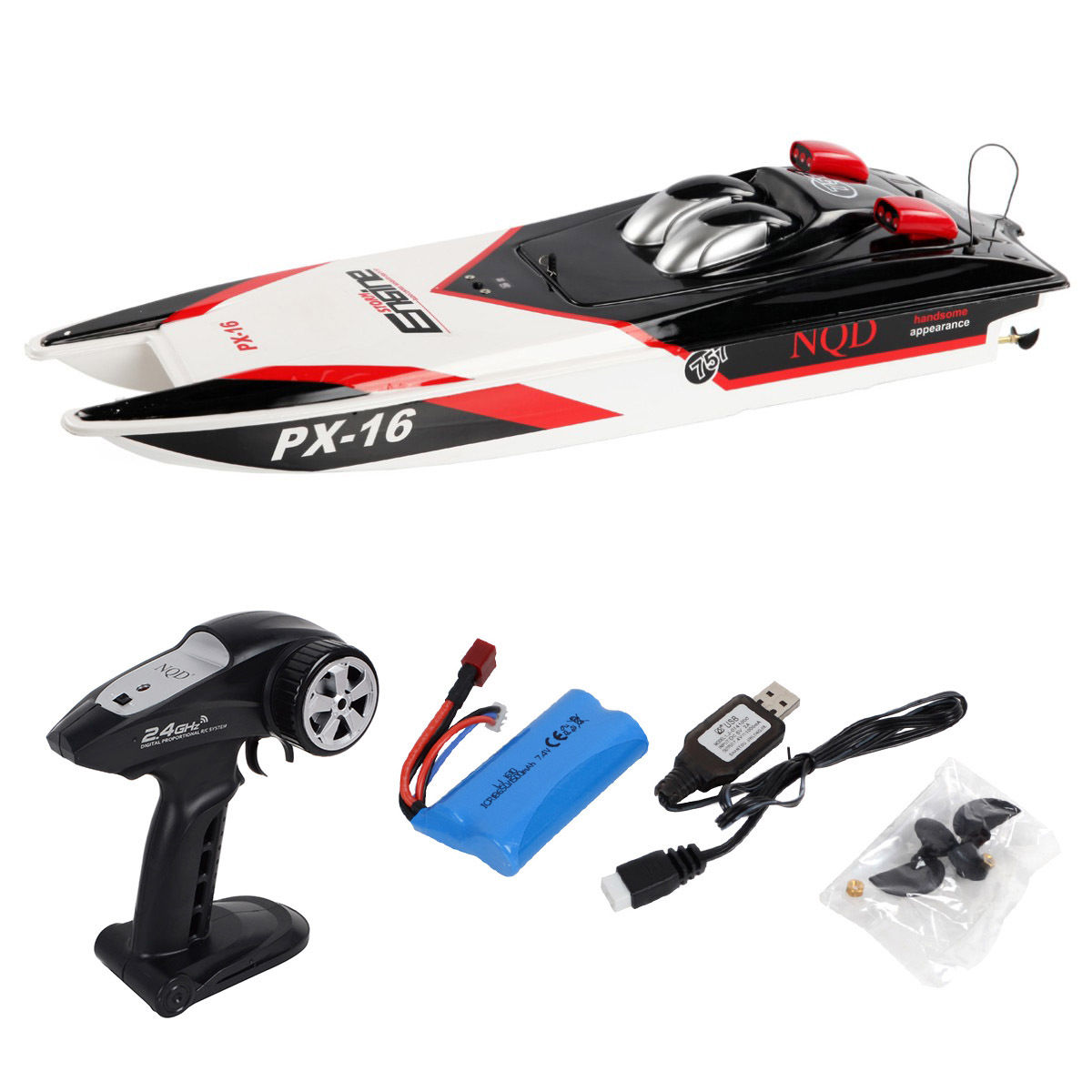 Costway PX-16 1:16 32'' 2.4G RC Speed Boat Storm Engine Radio Remote Control Electric Toy by Costway