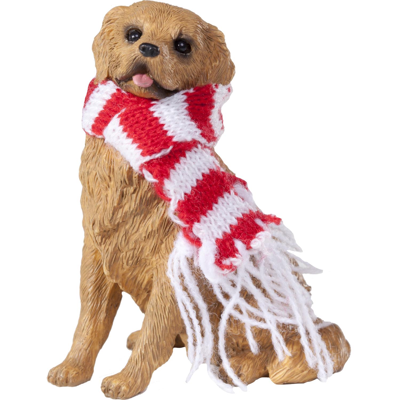 Sandicast Sitting Golden Retriever with Scarf Christmas Dog Ornament
