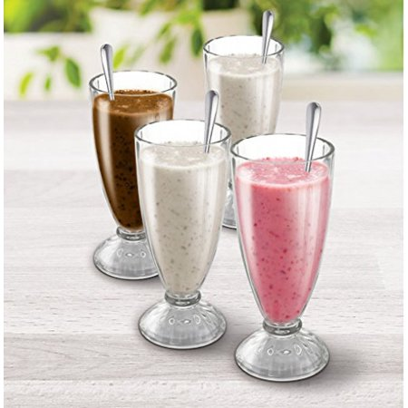 KOVOT Set Of 4 Old Fashioned Soda Glasses And Spoons - (4) 13-Ounce Classic Ice Cream Soda Glasses & (4) Metal Spoons - Soda Fountain Glasses