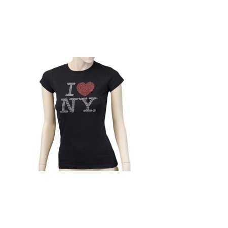 - 2Xl I Love Ny Black Rhinestone Womens T-Shirt Ladies Rhinestone Tee Heart