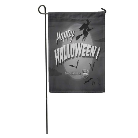 KDAGR Retro Movie Ending Screen Happy Halloween Vintage Witch Scary October Garden Flag Decorative Flag House Banner 12x18 inch