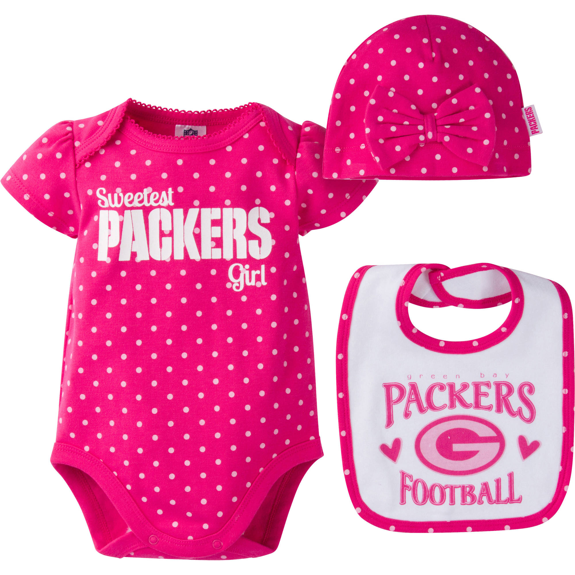 NFL Green Bay Packers Baby Girls Bodysuit, Bib and Cap Outfit Set, 3-Piece