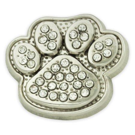 PinMart's Small Silver Rhinestone Animal Paw Print School Mascot Lapel Pin