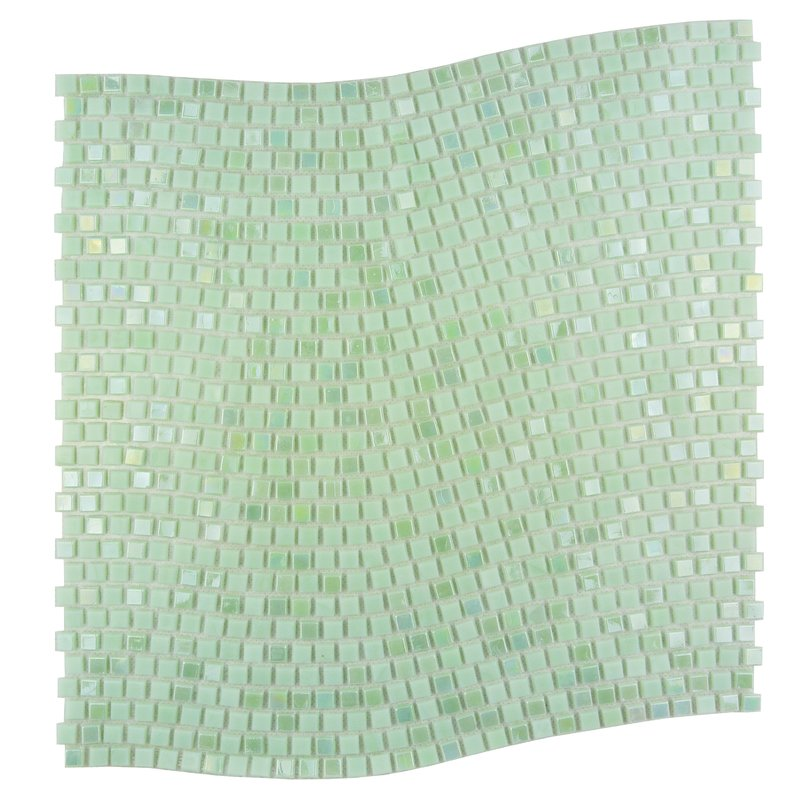 "Abolos- Galaxy Wavy 0.31"" x 0.31"" Glass Mosaic Tile in Green (10sqft / 10Sheet Box)"