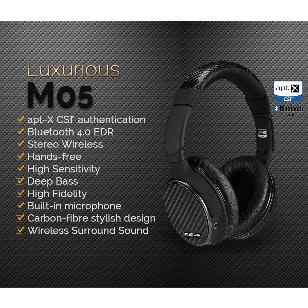 Ausdom M05 Over-ear Bluetooth Stereo APTX headphone Wireless Hi-fi Skype Chat with Noise Canceling Microphone