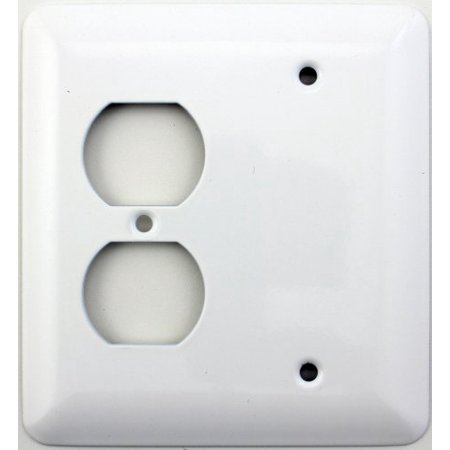 Mulberry Princess Style White 2 Gang Combination Switch Plate - 1 Duplex Outlet Opening 1 (Hole 2 Gang Aluminum Outlet)