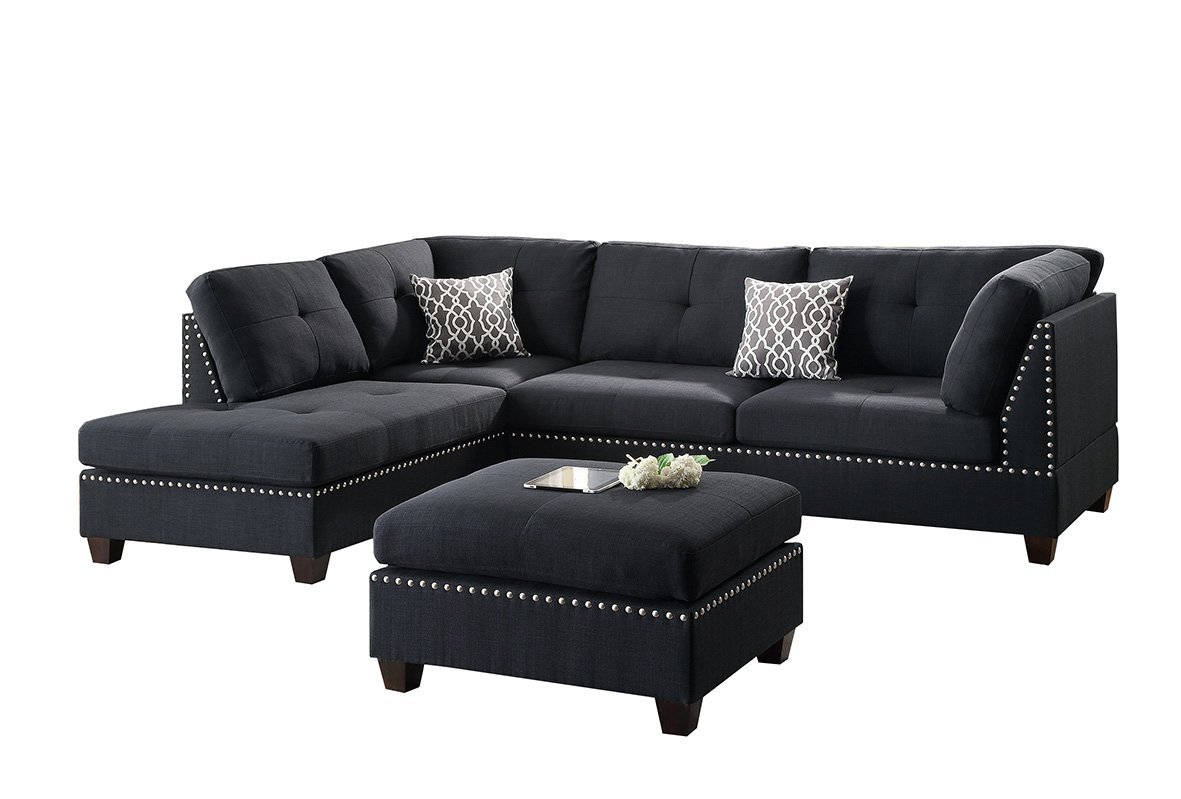 Black Polyfiber Fabric Left or Right Hand Chaise Reversible SECTIONAL Set  with Ottoman
