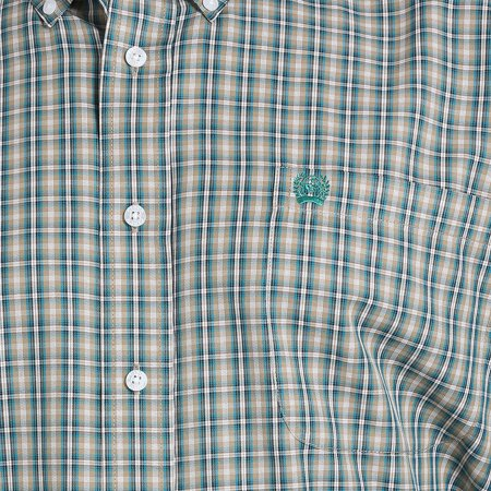 Cinch Apparel Mens   Plaid Button Down M Khaki