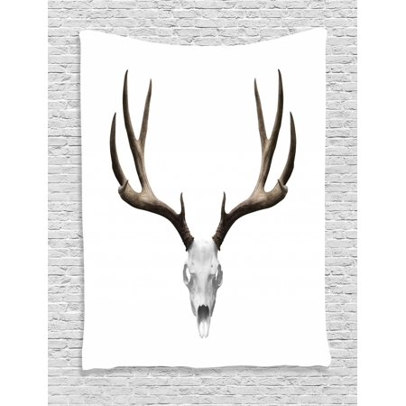 Halloween Tapestry (Antlers Tapestry, A Deer Skull Skeleton Head Bone Halloween Weathered Hunter Theme Motif, Wall Hanging for Bedroom Living Room Dorm Decor, Warm Taupe Pale Grey, by)