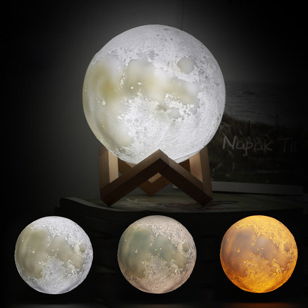 ELEOPTION 5.9Inch Luna Moon Lamp Night Light 3D Touch Sensor LED Bedside  Table Lamp Dimmable