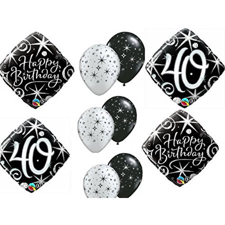 10pc Balloon Set 40th Birthday Over The Hill Birthday Party Black