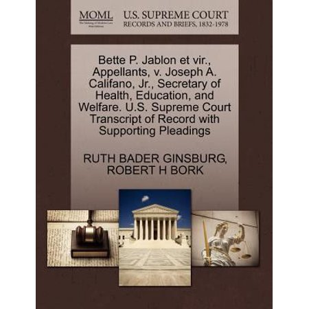 Bette P  Jablon Et Vir   Appellants  V  Joseph A  Califano  Jr   Secretary Of Health  Education  And Welfare  U S  Supreme Court Transcript Of Record