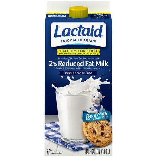 Lactaid 100% Lactose Free 2% Reduced Fat Calcium Enriched Milk, .5 gal
