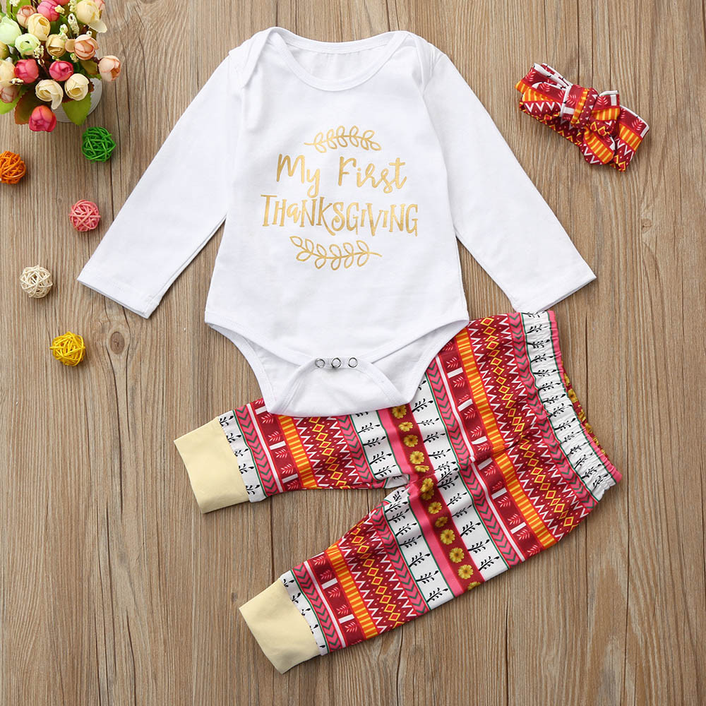 Binmer® Hot Sale Newborn Infant Baby Boy Girl Letter Romper Tops+Pants Thanksgiving Outfits Set