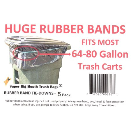 SUPER BIG MOUTH TRASH BAGS® RUBBER BAND Tie-Downs for 64/65-80 Gallon Trash Carts 5 - Big Mouth Shell