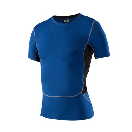 EFINNY Mens Sports Compression Wear Under Pro Base Layer Short Sleeve T-Shirts - Mens Pro Core Compression Short