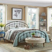 Tribecca Home Lacey Round Curved Double Top Arcs Victorian Iron King Metal Bed by