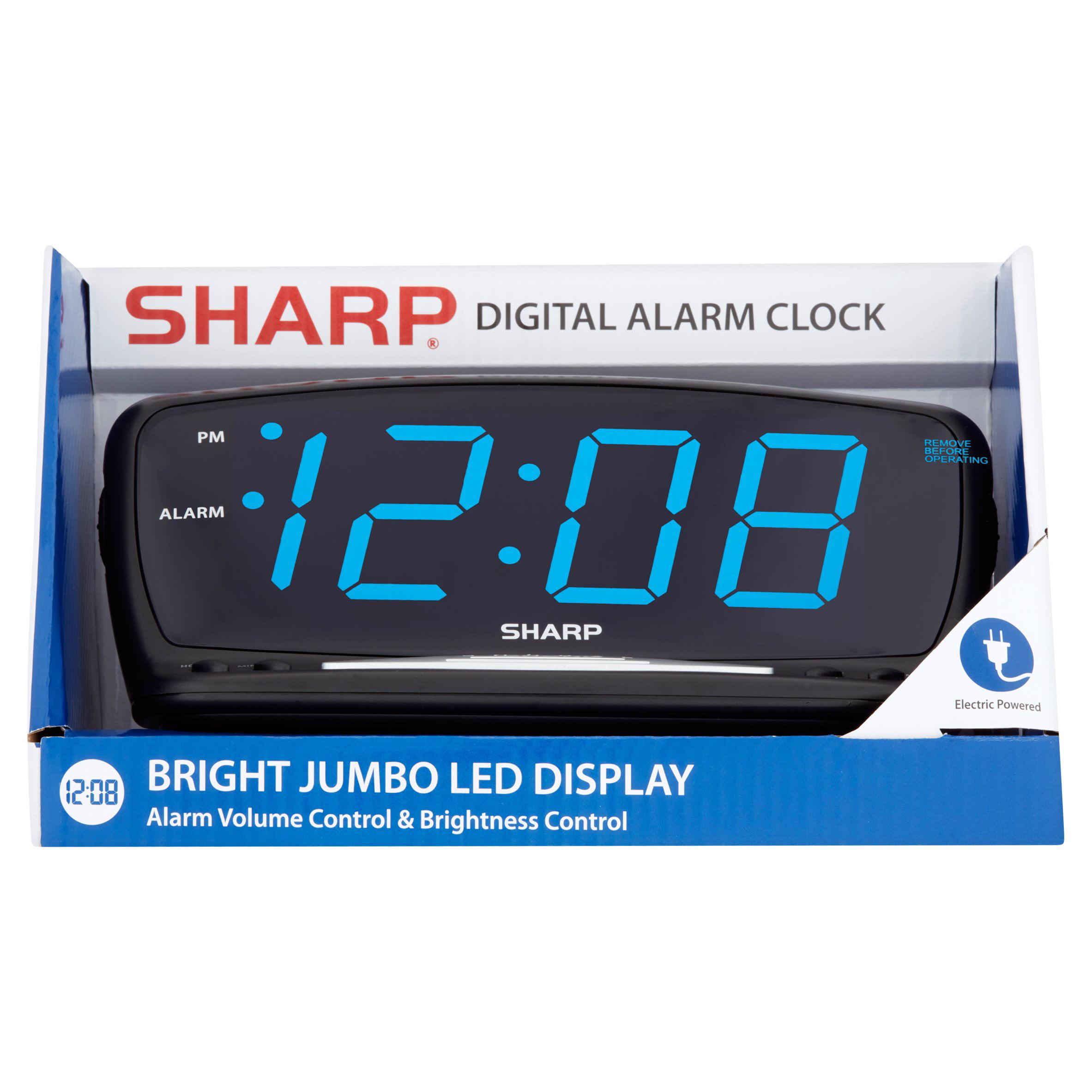 Sharp Blue Jumbo Led Alarm Clock Black Walmart Com