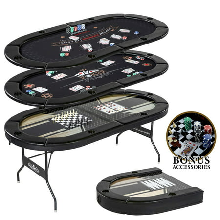 Barrington 6 Players 5 in-1 Multi-Game Poker Table, Blackjack, Poker, Checker, Chess and (Money In The Middle Of Poker Table)