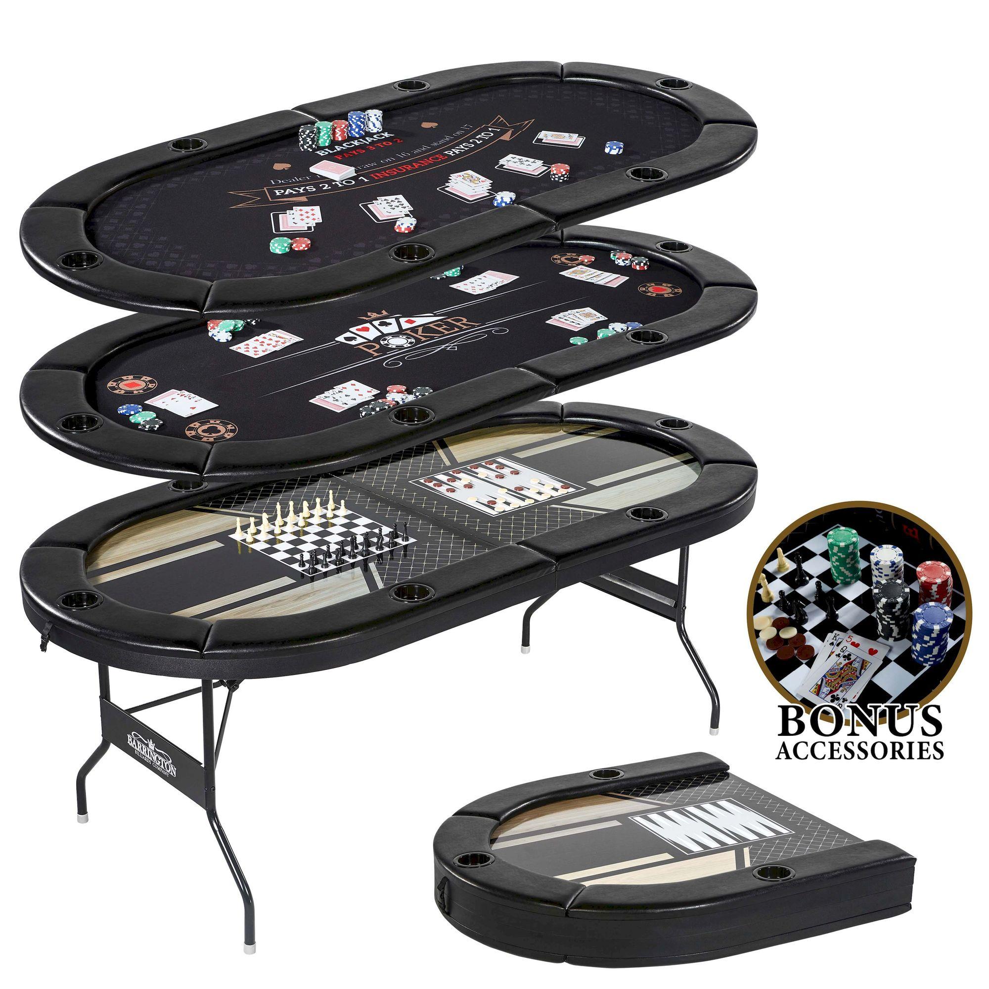 Barrington 6 Players 5 in-1 Multi-Game Poker Table, Blackjack, Poker, Checker, Chess and Backgammon