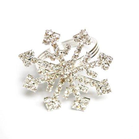 Snowflake Napkin Rings (Snowflake Silver Rhinestone Ring Napkin Holder,)