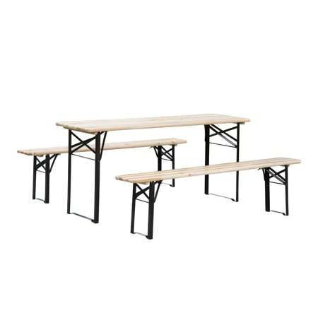 Folding Outdoor Picnic Table (Outsunny 6 ft. Wooden Folding Outdoor Picnic Table Set )
