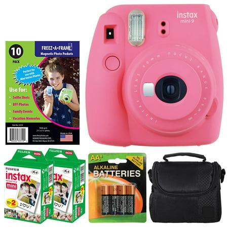 Fujifilm instax mini 9 Instant Film Camera (Flamingo Pink) + Freez-A-Frame Magnetic Photo Pockets + Fujifilm Instax Film (40 Shots) + Small Case + 4 AA Batteries – Complete Accessory Bundle