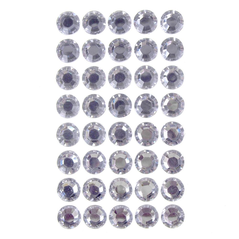 Round Adhesive Diamond Gem Stickers, Clear, 16mm