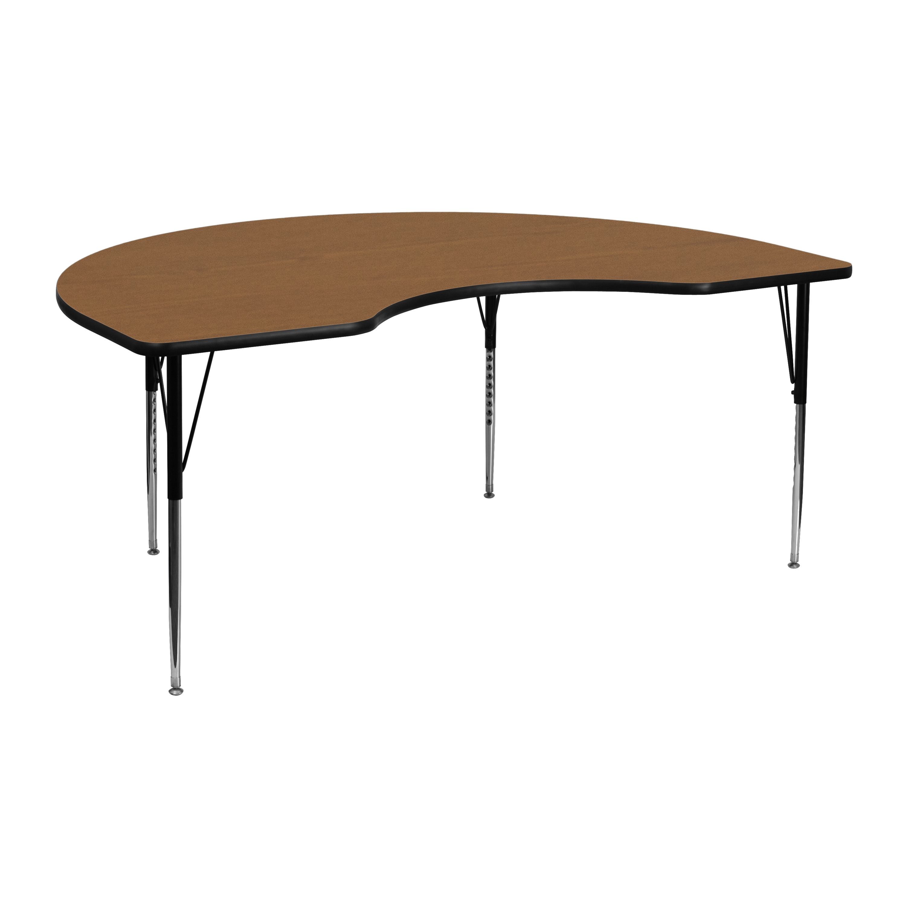 Flash Furniture 48 W X 72 L Kidney Shaped Activity Table With Oak Thermal Fused Laminate Top And Standard Height Adjustable Legs Walmart Com Walmart Com