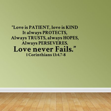 Wall Decal Quote Love Is Patient Love Is Kind It Always Protects