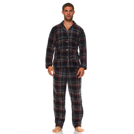 MarCielo Men's Fleece Pajamas, Classic Premium Plaid Flannel Fleece Pajama Set Sleepwear (S, Burgundy)