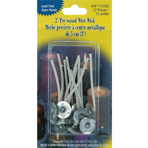 "Pre-Waxed Wire Wick with Clip, 2"", 12pk"