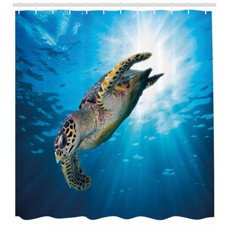 Turtle Shower Curtain Hawksbill Sea Dive Deep Into The Blue Ocean Against Sun Rays