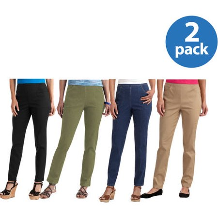 White Stag Womens Classic Stretch Pull-On Pants Available in Regular and Petite 2 Pack Value Bundle Bi Stretch Welt Pocket Pants