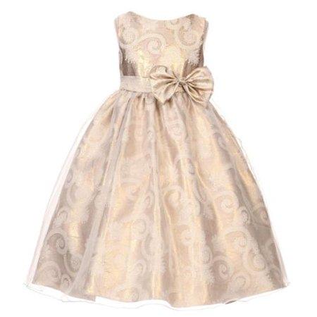 Kids Dream Little Girls Gold Sequin Bodice Floral Overlaid Flower Girl Dress 4