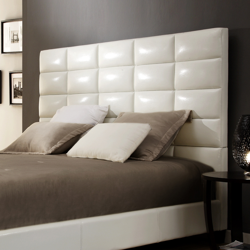 Weston Home Baylor White Bonded Leather Upholstered Column Headboard - Multiple sizes