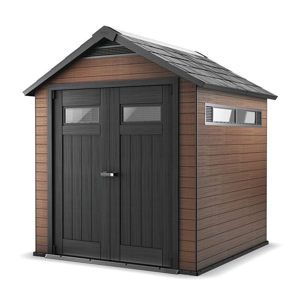 Keter Fusion 7.3' x 7.5' x 8.3' Wood and Plastic Composite Outdoor Storage Shed