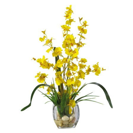Nearly Natural Dancing Lady Orchid Liquid Illusion Silk Flower Arrangement, Yellow
