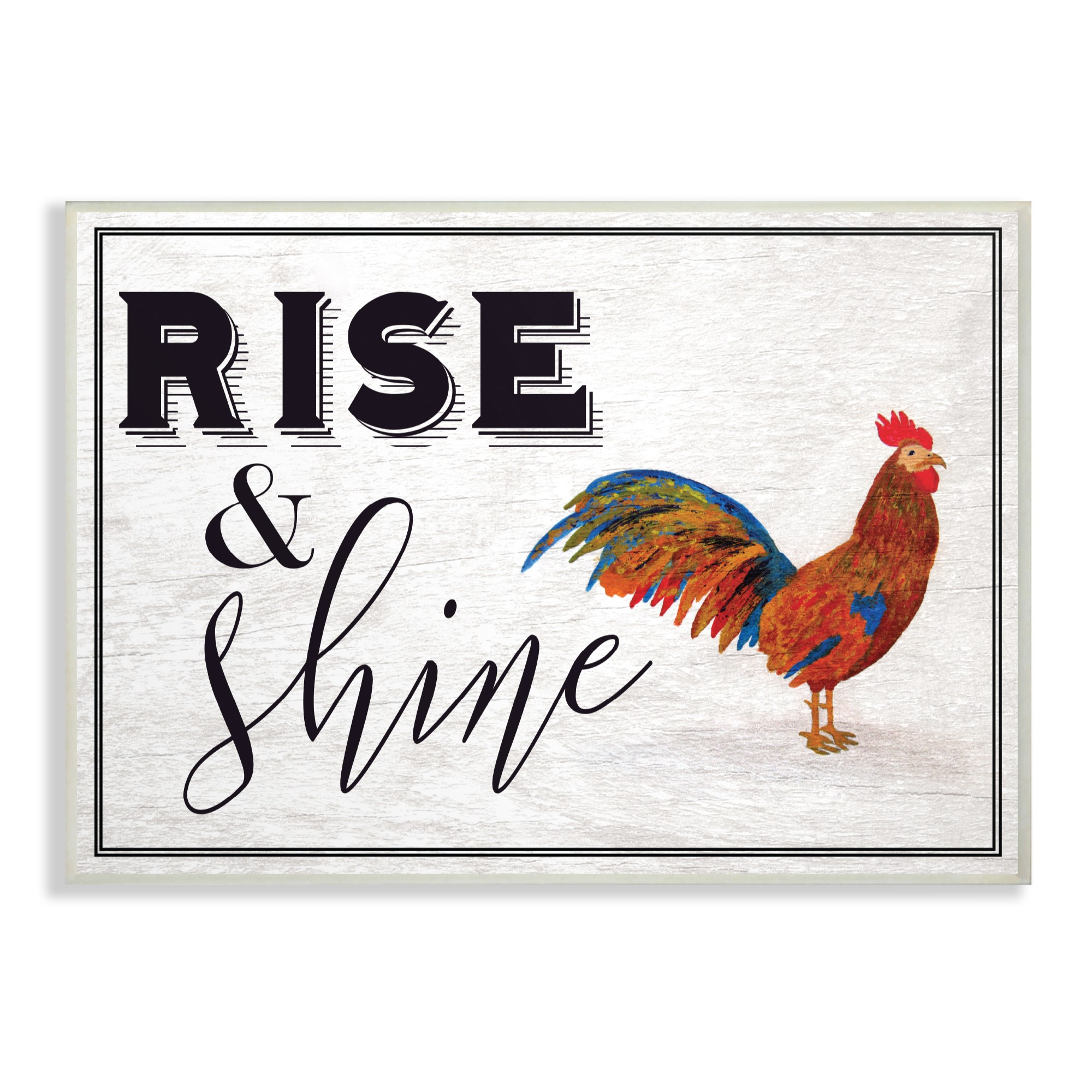The Stupell Home Decor Collection Rise And Shine Rooster White Oversized Wall Plaque Art, 13 x 0.5 x 19