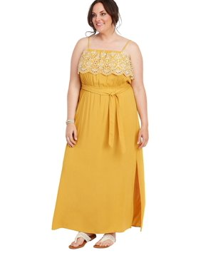 c66428d76d92 Product Image Plus Size Yellow Eyelet Trim Maxi Dress