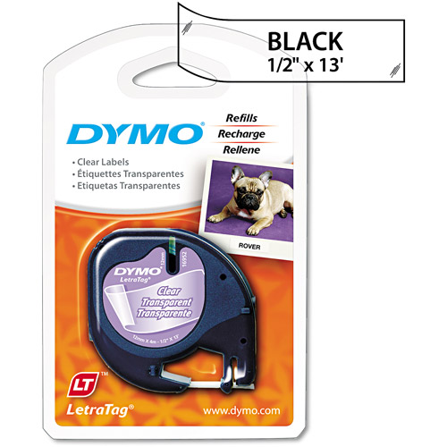 "Dymo 1/2"" x 13 ft Clear Plastic LetraTag Label Tape"