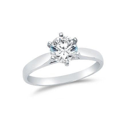Solid 14k White Gold Round Cut Wedding Engagement Ring, CZ Cubic Zirconia (1.25 ct.) , Size 8.5