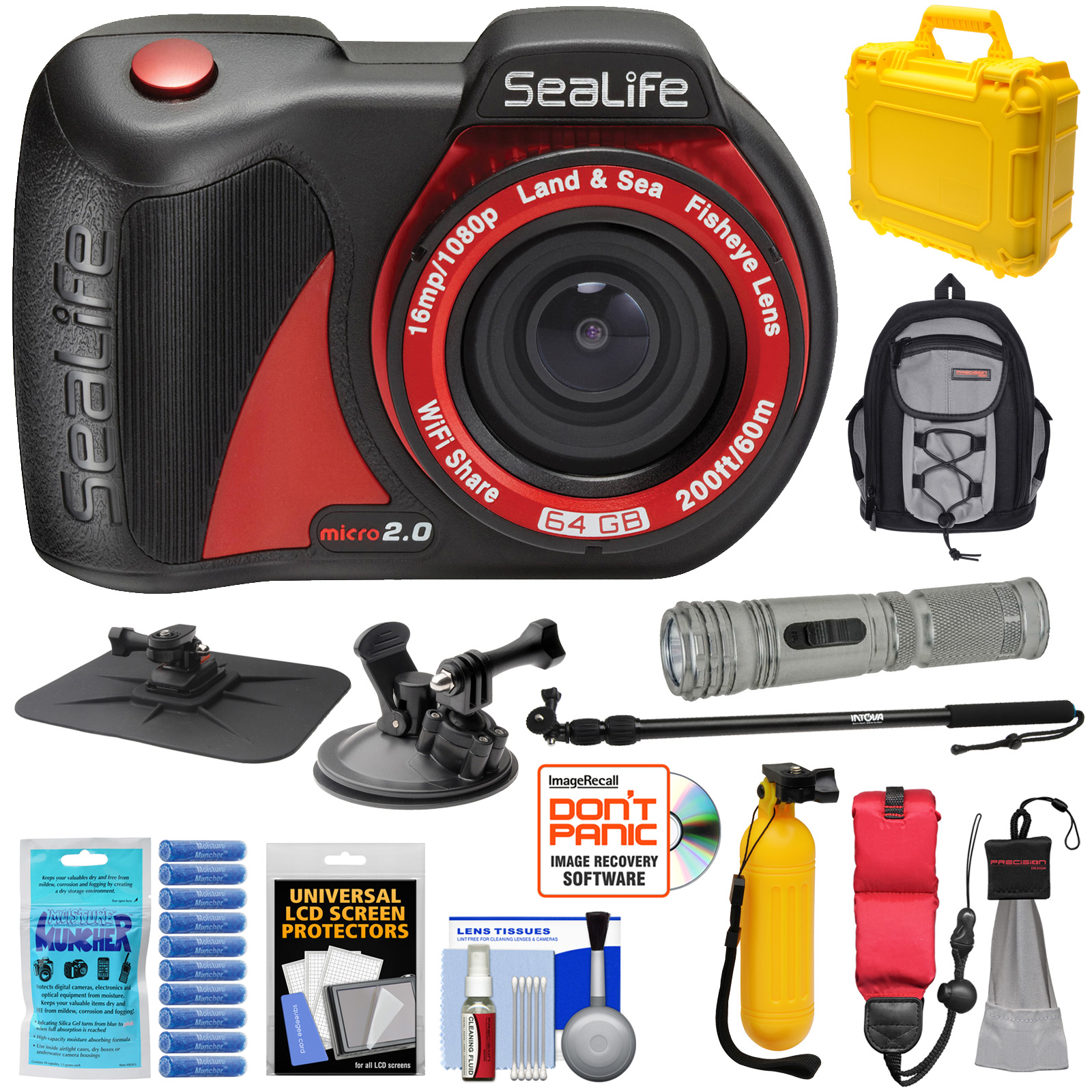 SeaLife Micro 2.0 64GB Wi-Fi Underwater Digital Camera with Suction Cup & Buoy Mount + Extension Pole + LED Torch + Backpack + Hard Case + Kit