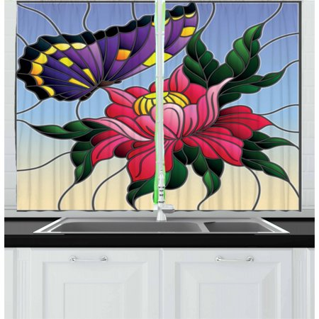 Aster Curtains 2 Panels Set, Stained Glass Pattern with Butterfly and a Flower Mosaic Garden Art Illustration, Window Drapes for Living Room Bedroom, 55W X 39L Inches, Multicolor, by Ambesonne ()