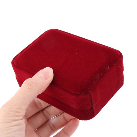 Birthday Gift Velvet Rectangle Jewelry Necklace Pendant Storage Box Burgundy - image 2 of 4