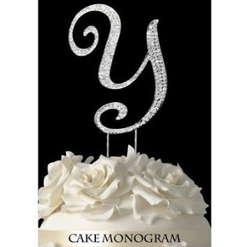 Monogram Cake Toppers - Silver Rhinestone Letter Y - Use For Sweet 16 Weddings Quince Anos