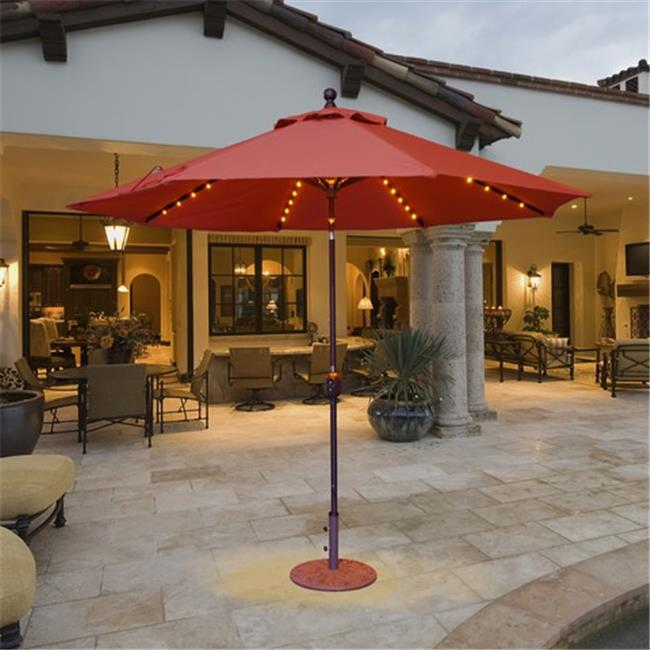 Galtech 9 ft. Black Auto Tilt with LED Lights Umbrella - Spa Sunbrella