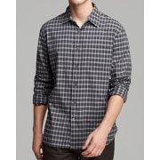 John Varvatos NEW Gray Mens Large L Button-Front Pocket Plaid Woven Shirt